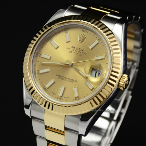 Rolex Datejust II 116333 SERVICED BY ROLEX with Stickers Champagne Baton Dial Pre-Owned Second Hand Used For Sale Available Purchase Buy Online with Part Exchange or Direct Sale Manchester North West England UK Great Britain Buy Today Free Next Day Delivery Warranty Luxury Watch Watches