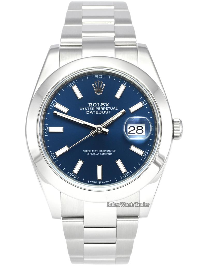 Rolex Datejust 126300 41mm 2019 UK Blue Baton Dial Pre-Owned Used Second Hand Mint Condition For Sale Available Purchase Buy Online with Part Exchange or Direct Sale Manchester North West England UK Great Britain Buy Today Free Next Day Delivery Warranty Luxury Watch Watches