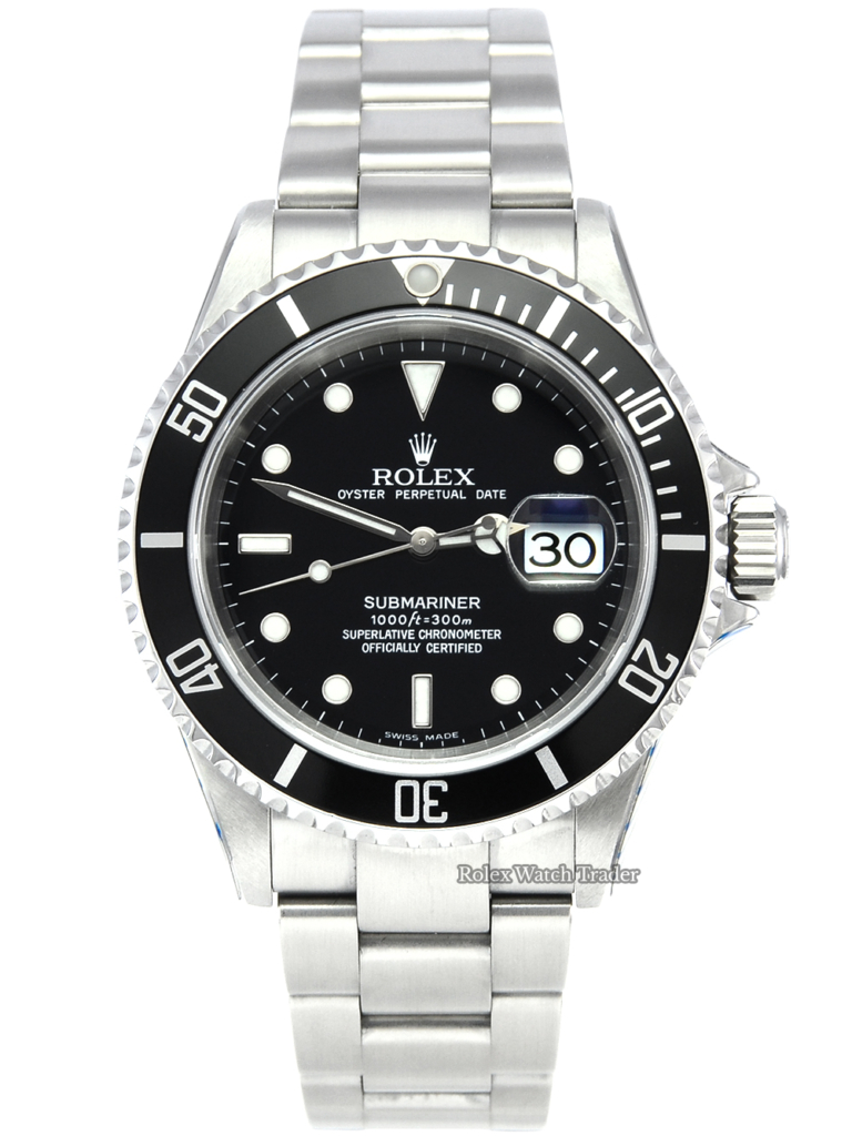 Rolex Submariner Date 16610 2004 SERVICED BY ROLEX with Stickers Pre-Owned Unworn Condition Mint Like New Excellent Used Second Hand Watch For Sale Available Purchase Online with Part Exchange or Direct Sale Manchester North West England UK Great Britain Buy Today