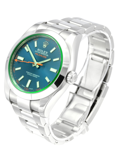 Rolex Milgauss 116400GV Blue Dial 2018 Z-Blue Green Glass Sapphire Crystal Oyster Bracelet Used Pre-Owned Second Hand For Sale Available Purchase Buy Online with Part Exchange or Direct Sale Manchester North West England UK Great Britain Buy Today Free Next Day Delivery Warranty Luxury Watch Watches