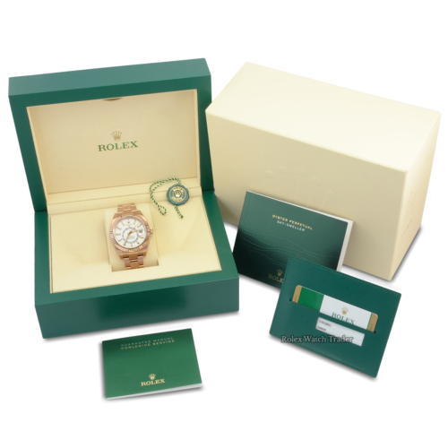 Rolex Sky-Dweller 326935 Rose Gold 42mm Unworn Stickers Brand New Ivory Intense White Dial Rose Gold Case and Bracelet Everose Gold SD SkyDweller Sky Dweller For Sale Available Purchase Buy Online with Part Exchange or Direct Sale Manchester North West England UK Great Britain Buy Today Free Next Day Delivery Warranty Luxury Watch Watches