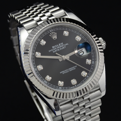 Rolex Datejust 126334 41mm Rolex Service Stickers Black Diamond Dot Dial White Gold Bezel Jubilee Bracelet For Sale Available Purchase Buy Online with Part Exchange or Direct Sale Manchester North West England UK Great Britain Buy Today Free Next Day Delivery Warranty Luxury Watch Watches