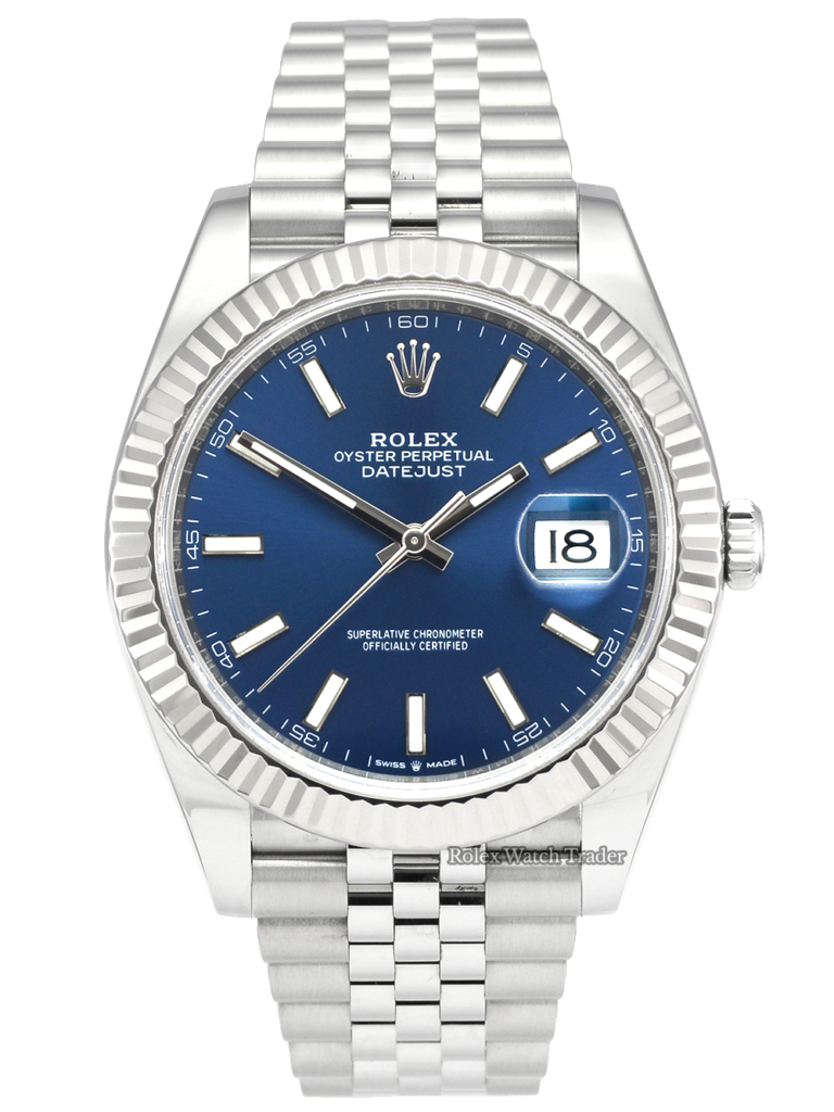 Rolex Datejust 126334 Blue Baton Dial UK 2020 White Gold Fluted Bezel Used Second Hand Pre-Owned 2020 41mm For Sale Available Purchase Buy Online with Part Exchange or Direct Sale Manchester North West England UK Great Britain Buy Today Free Next Day Delivery Warranty Luxury Watch Watches
