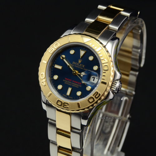 Rolex Yacht-Master 169623 29mm SERVICED BY ROLEX Bimetal Blue Dial Yachtmaster YM 29mm Pre-Owned Second Hand Used For Sale Available Purchase Buy Online with Part Exchange or Direct Sale Manchester North West England UK Great Britain Buy Today Free Next Day Delivery Warranty Luxury Watch Watches