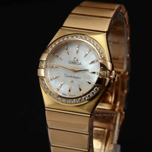 Omega Constellation Brushed Red Gold 123.55.27.60.55.002 Diamond Bezel Mother of Pearl Dial Red Gold Rose Gold Papers Only Pre-Owned Used Second Hand For Sale Available Purchase Buy Online with Part Exchange or Direct Sale Manchester North West England UK Great Britain Buy Today Free Next Day Delivery Warranty Luxury Watch Watches