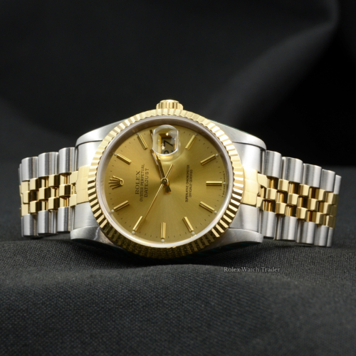 Rolex Datejust 16233 SERVICED BY ROLEX 36mm Bi-Metal Champagne Baton Dial Jubilee Bracelet Fluted Bezel Tritium Sunburst Effect Pre-Owned Second Hand Used For Sale Available Purchase Buy Online with Part Exchange or Direct Sale Manchester North West England UK Great Britain Buy Today Free Next Day Delivery Warranty Luxury Watch Watches