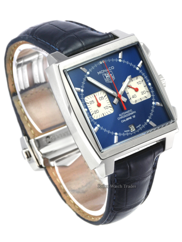 TAG Heuer Monaco Calibre 12 CAW2111 2016 Box & Papers Pre-Owned Used Second Hand For Sale Available Purchase Buy Online with Part Exchange or Direct Sale Manchester North West England UK Great Britain Buy Today Free Next Day Delivery Warranty Luxury Watch Watches
