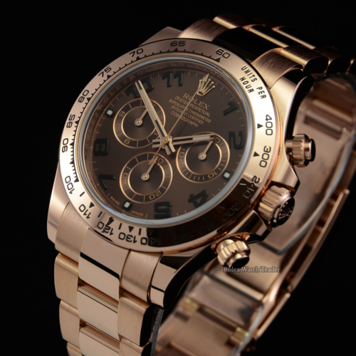 Rolex Daytona 116505 Chocolate Arabic Dial 2018 Full UK Set Used Second Hand Pre-Owned Discontinued Out of Production For Sale Available Purchase Buy Online with Part Exchange or Direct Sale Manchester North West England UK Great Britain Buy Today Free Next Day Delivery Warranty Luxury Watch Watches