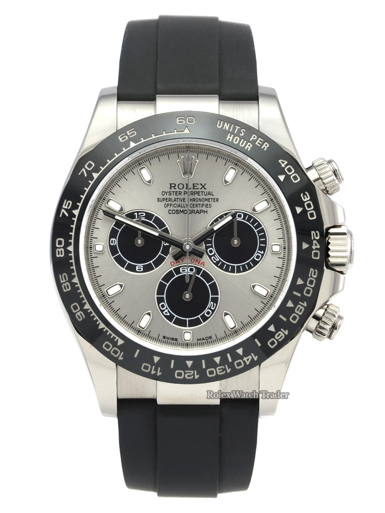 Rolex Daytona 116519LN Ghost White Gold Steel Dial Oysterflex Pre-Owned Used Second Hand 2019 For Sale Available Purchase Buy Online with Part Exchange or Direct Sale Manchester North West England UK Great Britain Buy Today Free Next Day Delivery Warranty Luxury Watch Watches