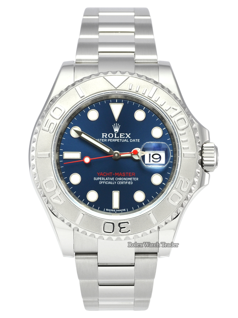 Rolex Yacht-Master 40 116622 Blue Dial Stainless Steel 2019 Pre-Owned Used Second Hand Very Good Condition For Sale Available Purchase Buy Online with Part Exchange or Direct Sale Manchester North West England UK Great Britain Buy Today Free Next Day Delivery Warranty Luxury Watch Watches