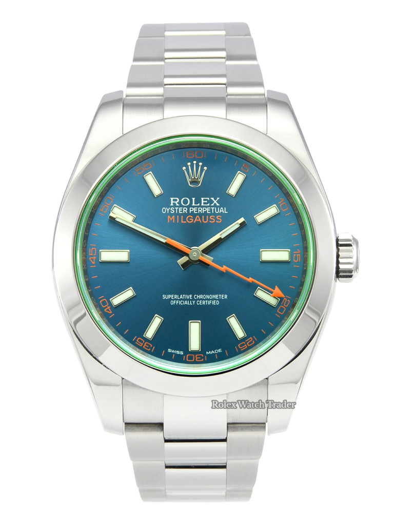 Rolex Milgauss 116400GV Blue Dial Stainless Steel 2016 Z-Blue Used Second Hand Anti-Magnetic Pre-Owned For Sale Available Purchase Buy Online with Part Exchange or Direct Sale Manchester North West England UK Great Britain Buy Today Free Next Day Delivery Warranty Luxury Watch Watches