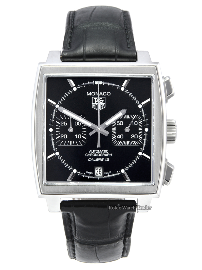 TAG Heuer Monaco Calibre 12 CAW2110 Black Dial Black Leather Strap 2013 Chronograph Stainless Steel Luminous Alligator Leather For Sale Available Purchase Buy Online with Part Exchange or Direct Sale Manchester North West England UK Great Britain Buy Today Free Next Day Delivery Warranty Luxury Watch Watches