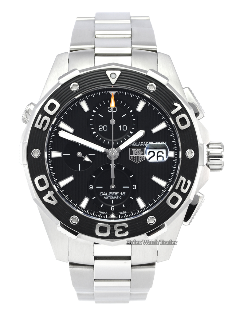 TAG Heuer Aquaracer 500M CAJ2110 Calibre 16 Automatic 2013 Men's Pre-Owned Used Second Hand Practical 44mm Black Dial Legible High Contrast Large Oversized For Sale Available Purchase Buy Online with Part Exchange or Direct Sale Manchester North West England UK Great Britain Buy Today Free Next Day Delivery Warranty Luxury Watch Watches