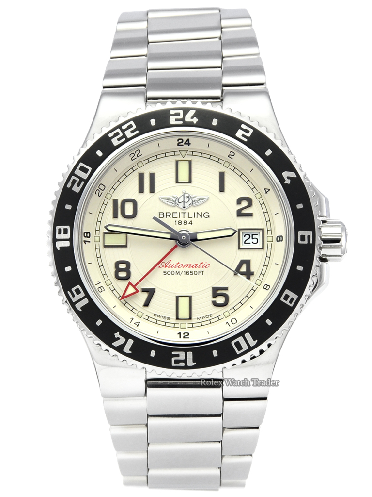 Breitling Superocean GMT A3238011/G740 Cream Ivory Dial Black Bezel Insert Men's 41mm For Sale Available Purchase Buy Online with Part Exchange or Direct Sale Manchester North West England UK Great Britain Buy Today Free Next Day Delivery Warranty Luxury Watch Watches
