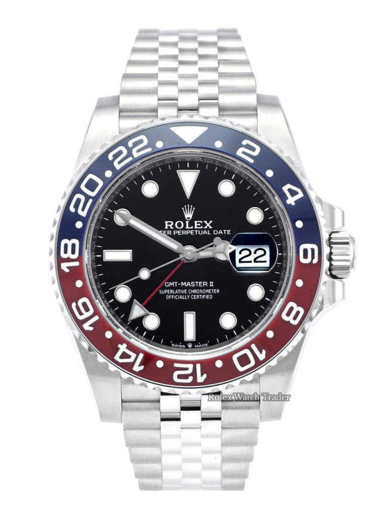 "Rolex GMT-Master II 126710BLRO ""Pepsi"" 2020 Unworn Brand New Stainless Steel Bi-colour Bezel For Sale Available Purchase Buy Online with Part Exchange or Direct Sale Manchester North West England UK Great Britain Buy Today Free Next Day Delivery Warranty Luxury Watch Watches"