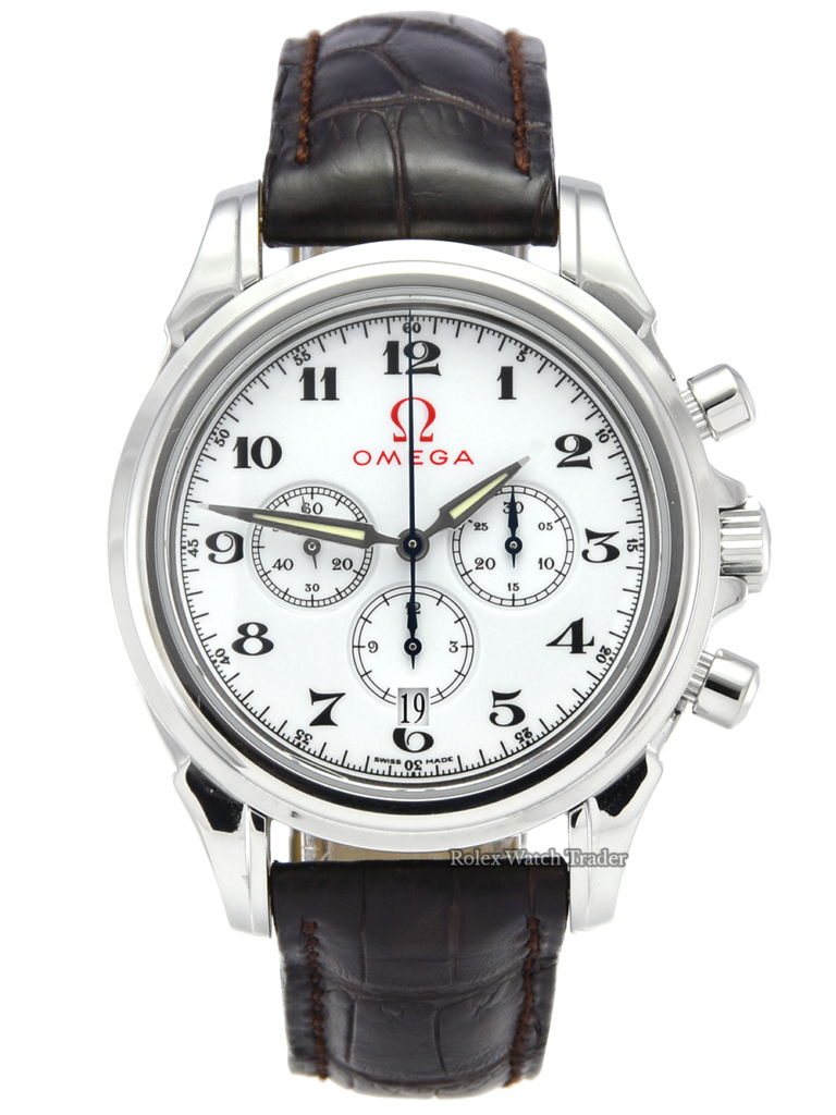 Omega De Ville Olympic 4841.20.32 Steel Chronograph Leather Strap Olympics Arabic Numerals Pre-Owned Used For Sale Available Purchase Buy Online with Part Exchange or Direct Sale Manchester North West England UK Great Britain Buy Today Free Next Day Delivery Warranty Luxury Watch Watches