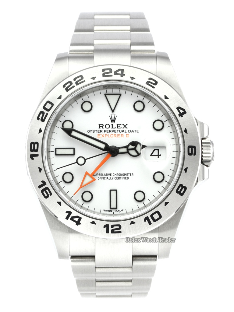 Rolex Explorer II 216570 White Dial UK 2020 Pre-Owned Used Polar Dial Orange GMT Hand Date Steel Bracelet Second Hand For Sale Available Purchase Buy Online with Part Exchange or Direct Sale Manchester North West England UK Great Britain Buy Today Free Next Day Delivery Warranty Luxury Watch Watches