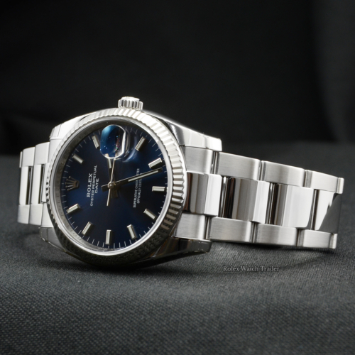 Rolex Oyster Perpetual Date 115234 34mm Blue Baton Dial Rolex Service Used Second Hand Pre-Owned For Sale Available Purchase Buy Online with Part Exchange or Direct Sale Manchester North West England UK Great Britain Buy Today Free Next Day Delivery Warranty Luxury Watch Watches