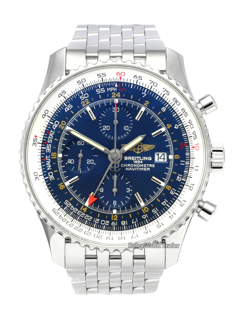 Breitling Navitimer World A24322 Chronograph GMT 46 Blue Dial A24322121C2A1 Used Second Hand Pre-Owned For Sale Available Purchase Buy Online with Part Exchange or Direct Sale Manchester North West England UK Great Britain Buy Today Free Next Day Delivery Warranty Luxury Watch Watches