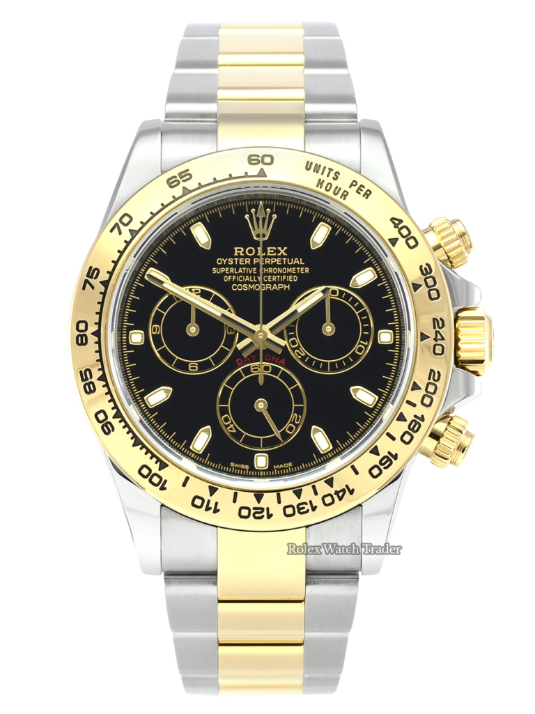 Rolex Daytona 116503 Bi-Metal Black Baton Dial 2019 UK Pre-Owned Used Second Hand Pre-Loved Previously Owned Classy Stunning Men's For Sale Available Purchase Buy Online with Part Exchange or Direct Sale Manchester North West England UK Great Britain Buy Today Free Next Day Delivery Warranty Luxury Watch Watches