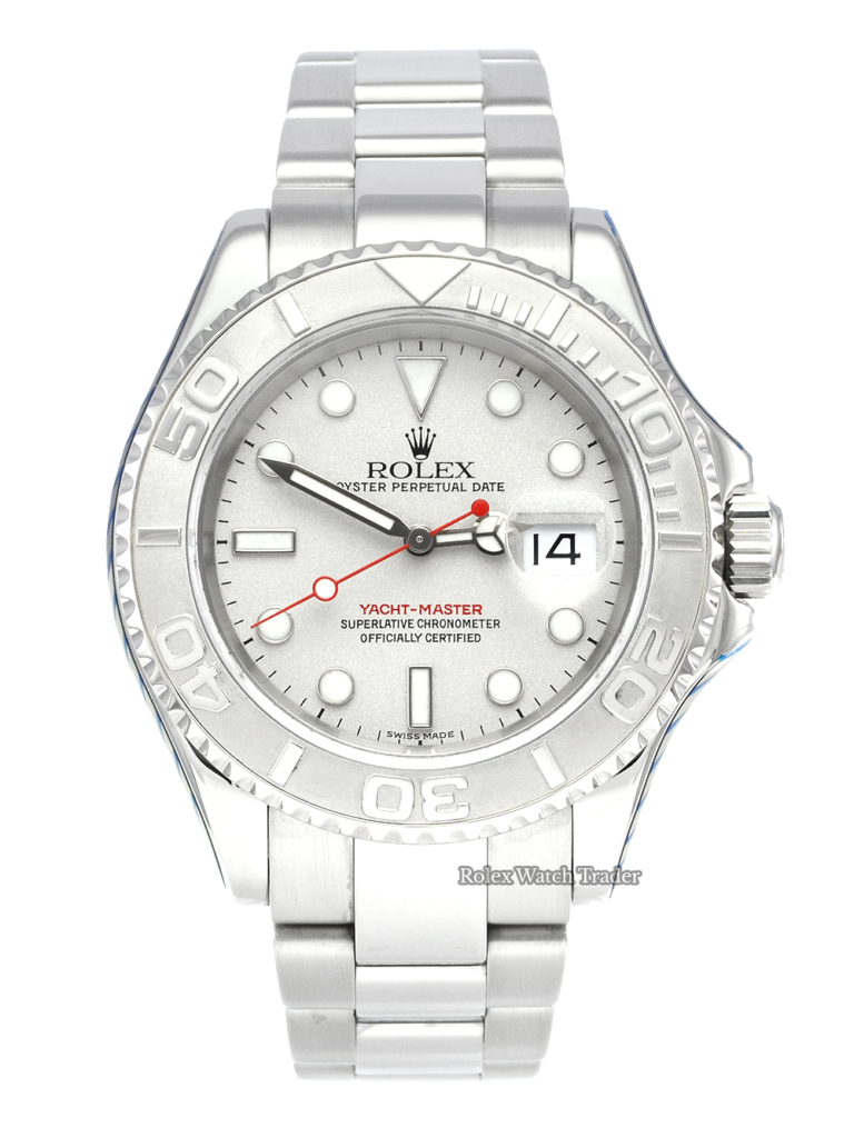 Rolex Yacht-Master 16622 40mm SERVICED BY ROLEX Platinum Bezel 2004 with 2 Year Warranty Stainless Steel Case and Bracelet For Sale Available Purchase Buy Online with Part Exchange or Direct Sale Manchester North West England UK Great Britain Buy Today Free Next Day Delivery Warranty Luxury Watch Watches
