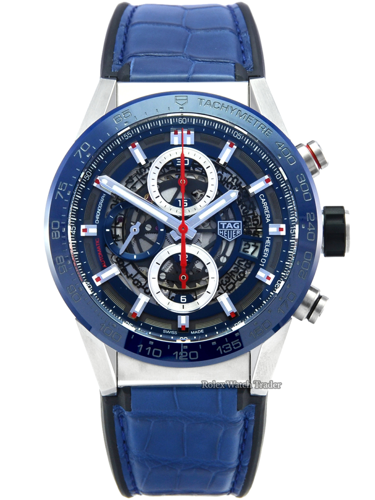 TAG Heuer Carrera Calibre Heuer 01 Automatic Chronograph CAR201T.FC6406 Unworn Skeleton Brand New For Sale Available Purchase Buy Online with Part Exchange or Direct Sale Manchester North West England UK Great Britain Buy Today Free Next Day Delivery Warranty Luxury Watch Watches