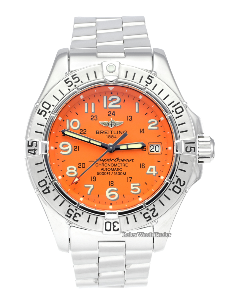 Breitling Superocean A1736011/0501 Orange Arabic Numeral Dial For Sale Available Purchase Buy Online with Part Exchange or Direct Sale Manchester North West England UK Great Britain Buy Today Free Next Day Delivery Warranty Luxury Watch Watches