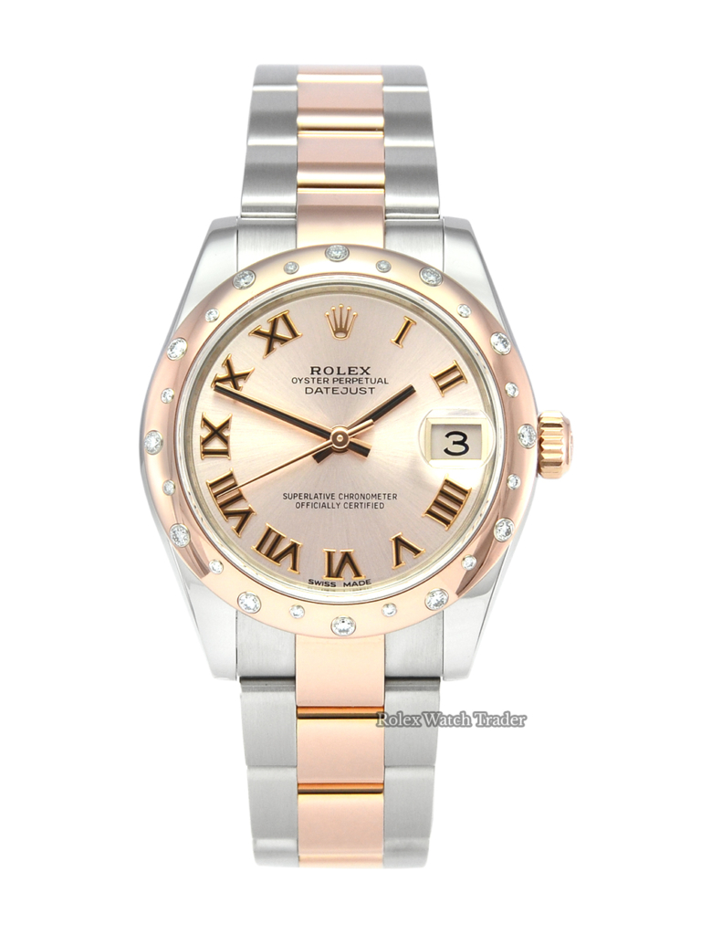 Rolex Lady-Datejust 178341 Pink Dial Full Set 31mm UK 2017 Pale Pink Roman Numeral Dial Bi-Metal Stainless Steel and Rose Gold For Sale Available Purchase Buy Online with Part Exchange or Direct Sale Manchester North West England UK Great Britain Buy Today Free Next Day Delivery Warranty Luxury Watch Watches
