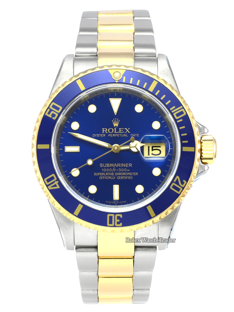 Rolex Submariner Date 16613 UK 2008 SERVICED BY ROLEX Pre-Owned Used Second Hand Bluesy 40mm Aluminium Bezel For Sale Available Purchase Buy Online with Part Exchange or Direct Sale Manchester North West England UK Great Britain Buy Today Free Next Day Delivery Warranty Luxury Watch Watches