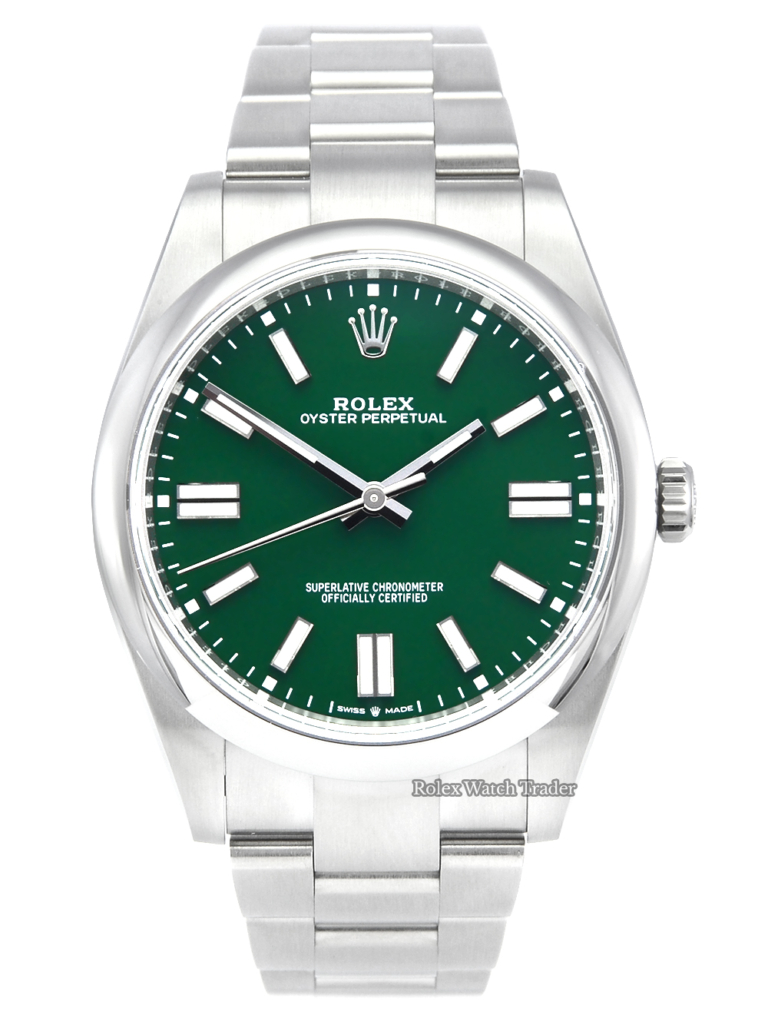 Rolex Oyster Perpetual 41 124300 Green Dial Unworn Brand New Recently Released Stainless Steel Oyster Bracelet For Sale Available Purchase Buy Online with Part Exchange or Direct Sale Manchester North West England UK Great Britain Buy Today Free Next Day Delivery Warranty Luxury Watch Watches