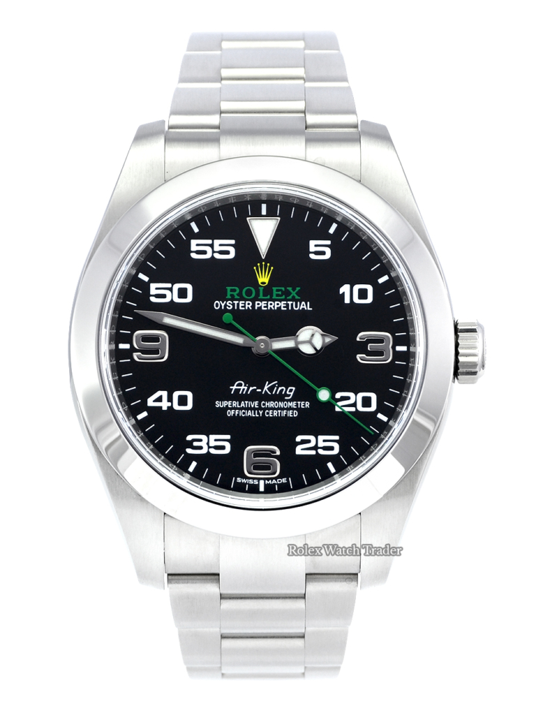 Rolex Air-King 116900 UK 2020 Box & Papers Green Writing Bloodhound Stainless Steel 40mm Black Dial Pre-Owned Second Hand Used 5 Years Warranty For Sale Available Purchase Buy Online with Part Exchange or Direct Sale Manchester North West England UK Great Britain Buy Today Free Next Day Delivery Warranty Luxury Watch Watches