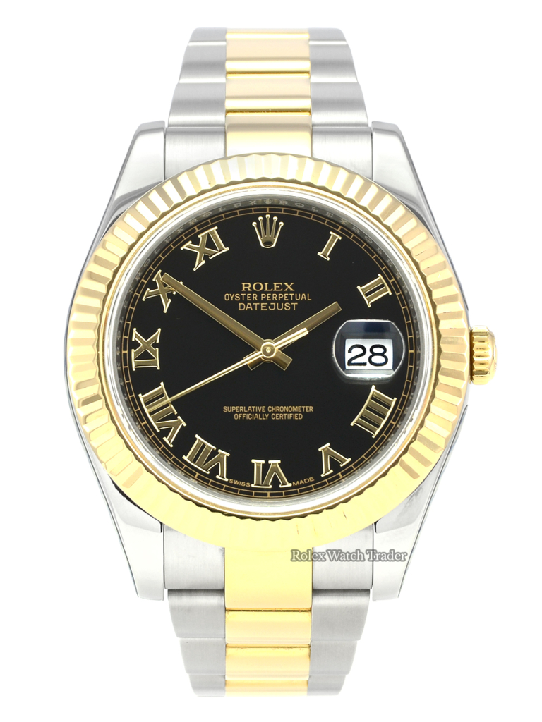 Rolex Datejust II 116333 SERVICED BY ROLEX with Stickers Black Roman Numeral Dial Pre-Owned Used Second Hand Full Service Stainless Steel and Yellow Gold For Sale Available Purchase Buy Online with Part Exchange or Direct Sale Manchester North West England UK Great Britain Buy Today Free Next Day Delivery Warranty Luxury Watch Watches