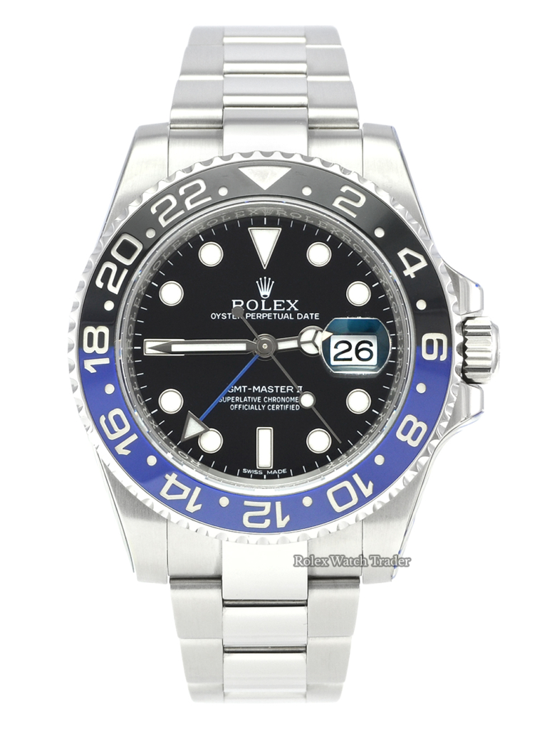 "Rolex GMT-Master II 116710BLNR ""Batman"" SERVICED BY ROLEX with Stickers and 2 Year Warranty Black & Blue Ceramic Bezel Insert Stainless Steel Case and Bracelet Pre-Owned Used Second Hand 2015 For Sale Available Purchase Buy Online with Part Exchange or Direct Sale Manchester North West England UK Great Britain Buy Today Free Next Day Delivery Warranty Luxury Watch Watches"