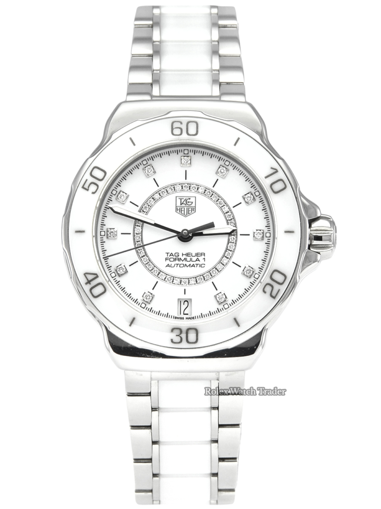 TAG Heuer Formula 1 WAU2211 White Ceramic Unworn 2018 Sparkling Women's Ladies' Watch Diamond Dial Stainless Steel and White Ceramic Bracelet Automatic For Sale Available Purchase Buy Online with Part Exchange or Direct Sale Manchester North West England UK Great Britain Buy Today Free Next Day Delivery Warranty Luxury Watch Watches