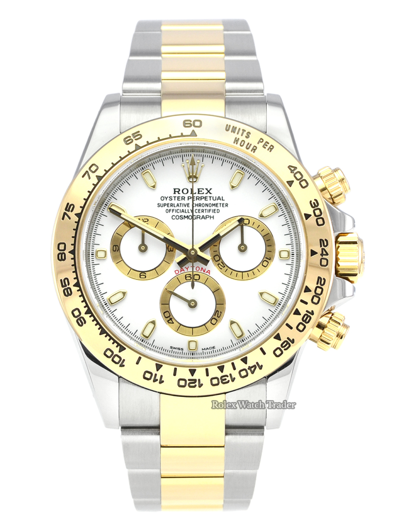 Rolex Daytona 116503 Bi-Metal Steel & Gold White Dial 2019 Pre-Owned Second Hand Used For Sale Available Purchase Buy Online with Part Exchange or Direct Sale Manchester North West England UK Great Britain Buy Today Free Next Day Delivery Warranty Luxury Watch Watches