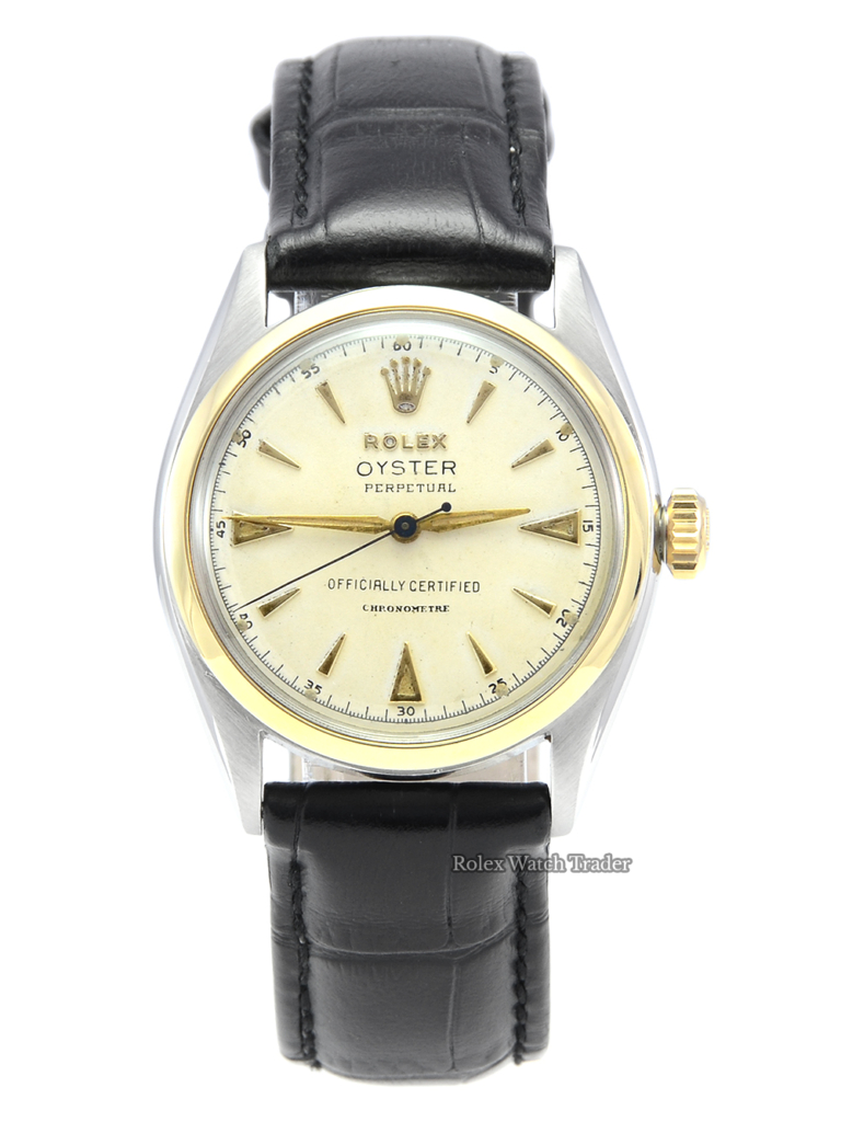 Rolex Oyster Perpetual 6084 Bi-Metal Vintage Just Serviced 1950s or 1960s Bubble Back Pre-Owned Second Hand Used For Sale Available Purchase Buy Online with Part Exchange or Direct Sale Manchester North West England UK Great Britain Buy Today Free Next Day Delivery Warranty Luxury Watch Watches