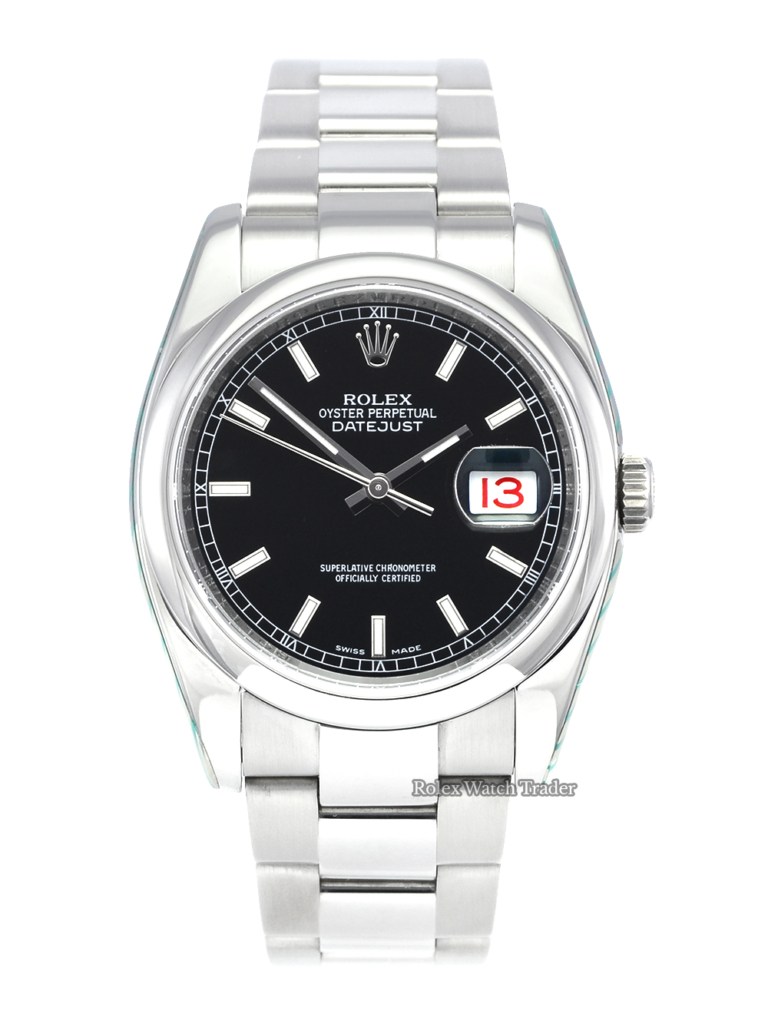 Rolex Datejust 116200 Black Dial SERVICED BY ROLEX 36mm Pre-Owned Used Second Hand with Full Service 2 Years Warranty For Sale Available Purchase Buy Online with Part Exchange or Direct Sale Manchester North West England UK Great Britain Buy Today Free Next Day Delivery Warranty Luxury Watch Watches