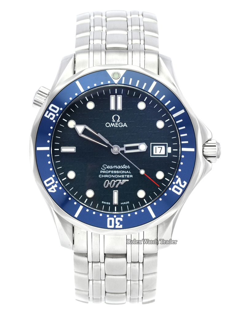 Omega Seamaster 2537.80.00 40th Anniversary James Bond Limited Edition 41mm Automatic Blue Dial Stainless Steel Pre-Owned Used Second Hand For Sale Available Purchase Buy Online with Part Exchange or Direct Sale Manchester North West England UK Great Britain Buy Today Free Next Day Delivery Warranty Luxury Watch Watches