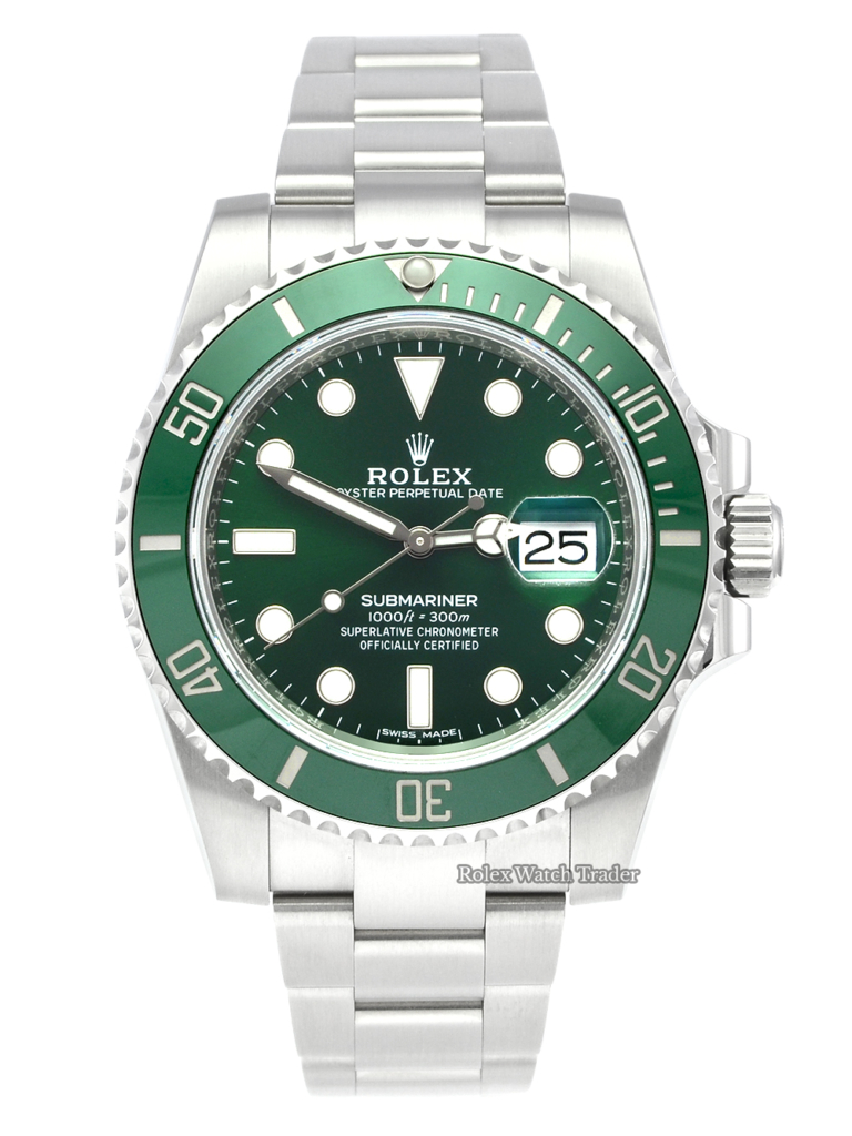 "Rolex Submariner 116610LV ""Hulk"" 2019 Pre-Owned Used Second Hand Previously Owned Green Dial Green Bezel For Sale Available Purchase Buy Online with Part Exchange or Direct Sale Manchester North West England UK Great Britain Buy Today Free Next Day Delivery Warranty Luxury Watch Watches"