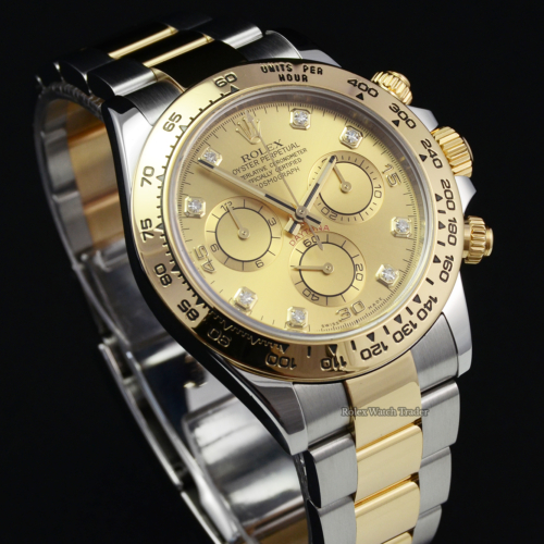 Rolex Daytona 116503 Bi-Metal Champagne Diamond Dot Dial Complete Set 2018 Pre-Owned Used For Sale Available Purchase Buy Online with Part Exchange or Direct Sale Manchester North West England UK Great Britain Buy Today Free Next Day Delivery Warranty Luxury Watch Watches