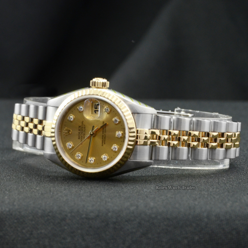 Rolex Lady-Datejust 69173 Serviced by Rolex with 2 Years Warranty Champagne Diamond Dot Dial 26mm Jubilee Bracelet Box & Papers For Sale Available Purchase Buy Online with Part Exchange or Direct Sale Manchester North West England UK Great Britain Buy Today Free Next Day Delivery Warranty Luxury Watch Watches