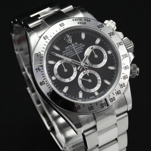 Rolex Daytona 116520 NOS Full Stickers Unworn 2011 Black Dial New Old Stock Brand New Unworn Unused Stainless Steel Black Dial For Sale Available Purchase Buy Online with Part Exchange or Direct Sale Manchester North West England UK Great Britain Buy Today Free Next Day Delivery Warranty Luxury Watch Watches