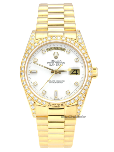Rolex Day-Date 18138 Factory Diamond Set Shoulders and Bezel White Diamond Dot Dial Yellow Gold Presidential Bracelet Weekday Date Windows with Original Box & Papers Pre-Owned Serviced with 2 Years Warranty For Sale Available Purchase Buy Online with Part Exchange or Direct Sale Manchester North West England UK Great Britain Buy Today Free Next Day Delivery Warranty Luxury Watch Watches