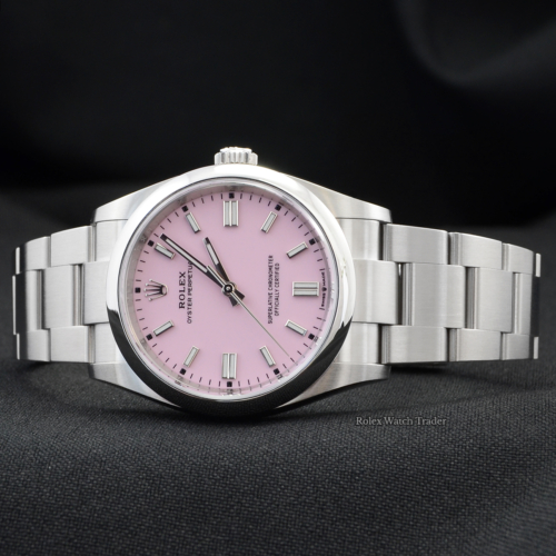 Rolex Oyster Perpetual 126000 36mm Candy Pink Dial Unworn 2021 with Clasp Sticker Brand New Never Worn Rare Desirable Pink Dial Newest Release For Sale Available Purchase Buy Online with Part Exchange or Direct Sale Manchester North West England UK Great Britain Buy Today Free Next Day Delivery Warranty Luxury Watch Watches