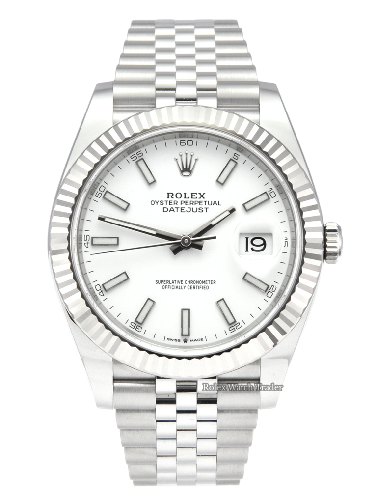 Rolex Datejust 41 126334 White Baton Unworn Brand New Stainless Steel Jubilee Bracelet Oysterclasp Oystersteel For Sale Available Purchase Buy Online with Part Exchange or Direct Sale Manchester North West England UK Great Britain Buy Today Free Next Day Delivery Warranty Luxury Watch Watches