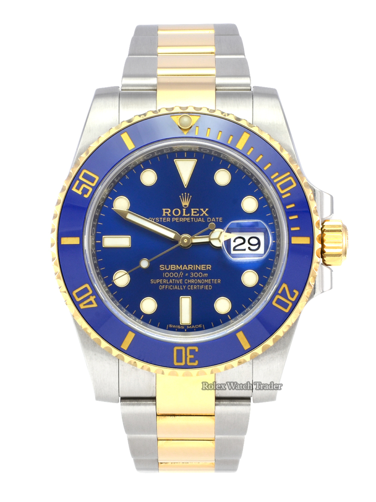 Rolex Submariner Date 116613LB Bi-Metal Blue Pre-Owned Second Hand Used Previously Owned Bi-Colour Two Tone Stainless Steel & Yellow Gold Sunburst Dial For Sale Available Purchase Buy Online with Part Exchange or Direct Sale Manchester North West England UK Great Britain Buy Today Free Next Day Delivery Warranty Luxury Watch Watches
