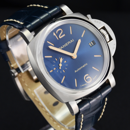 Panerai Luminor Due PAM00926 38mm Unworn 2021 Blue Dial Blue Alligator Leather Strap Sunburst Effect For Sale Available Purchase Buy Online with Part Exchange or Direct Sale Manchester North West England UK Great Britain Buy Today Free Next Day Delivery Warranty Luxury Watch Watches