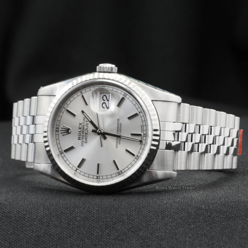 Rolex Datejust 16234 Silver Baton Just Serviced by Rolex 36mm 2 Years Warranty Pre-Owned Second Hand Used 1991 Like New Very Good Condition For Sale Available Purchase Buy Online with Part Exchange or Direct Sale Manchester North West England UK Great Britain Buy Today Free Next Day Delivery Warranty Luxury Watch Watches