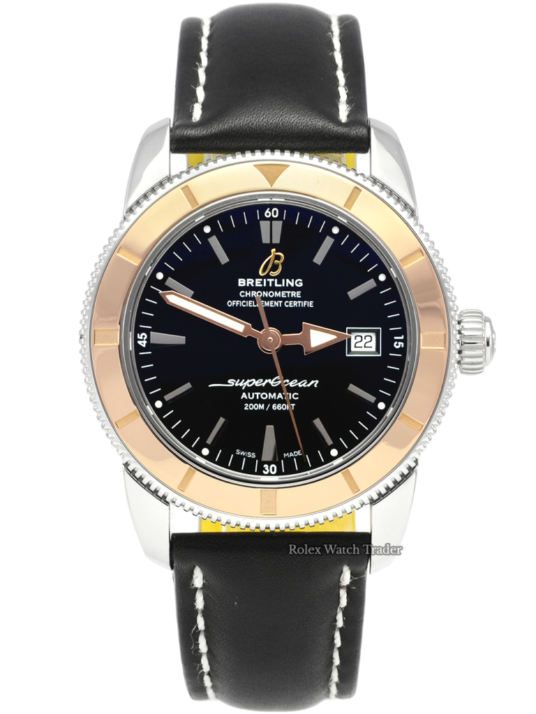 Breitling Superocean Heritage U1732112/BA61 SERVICED BY BREITLING with Extra Strap Leather and Rubber Pre-Owned Second Hand Used Rose Gold Bezel For Sale Available Purchase Buy Online with Part Exchange or Direct Sale Manchester North West England UK Great Britain Buy Today Free Next Day Delivery Warranty Luxury Watch Watches