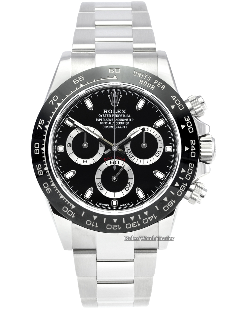Rolex Daytona 116500LN Black Dial 2021 Unworn Ceramic Brand New Men's Stainless Steel Sports Model For Sale Available Purchase Buy Online with Part Exchange or Direct Sale Manchester North West England UK Great Britain Buy Today Free Next Day Delivery Warranty Luxury Watch Watches